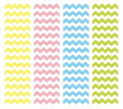 Zig zag chevron pattern vector set. Pastel pink, blue, yellow and green summer background collection Royalty Free Stock Photos
