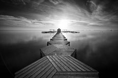 Zig Zag dock in black and white Stock Image