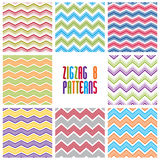 Zig zag geometric seamless patterns set, vector backgrounds coll Royalty Free Stock Images