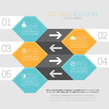Zig Zag Hexagon Infographic Stock Photo