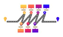 Zig zag highway roadmap timeline elements with markpoint graph think search gear target icons. vector illustration eps10. Zig zag highway roadmap timeline vector illustration