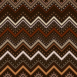 Zig zag pattern with lines and dots in brown tones Stock Photography