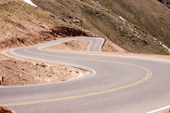 Zig-zag road going down Pike's Peak Royalty Free Stock Photos
