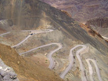 Zig zag roads in Ladakh mountain-2 Royalty Free Stock Photography