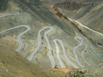 Zig zag roads in Ladakh mountain-1. A mountain landscape with a dangerous winded roads royalty free stock photos