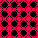 Zig Zag Squares Seamless Pattern. Seamless black squares with a hot pink background. Wavy zigzag lines around the squares Stock Image