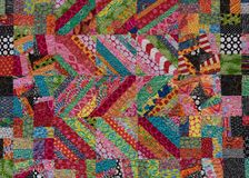 Zig Zag Stripes and Squares. Of Bright Colors on Quilt Royalty Free Stock Photography