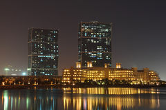 Zig Zag Towers at night. Doha Royalty Free Stock Photos