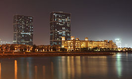 Zig Zag Towers at night. Doha Royalty Free Stock Image