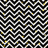 Zig-zag trendy seamless pattern with hearts. Royalty Free Stock Images