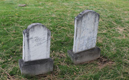 Zig Zag Twin Marble Headstone in Old Cemetery Royalty Free Stock Photos