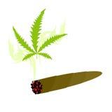 Zigarette mit Marihuana Knabis-Blatt und Rauchdroge Vektor IL Stockbilder