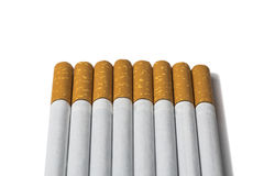 Zigaretten in Folge auf einem Weiß Stockfotos