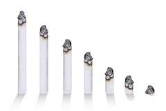 ZigarettenBalkendiagramm, Konzept der Zigarette schädlich, lokalisiert auf weißem Hintergrund Stockfotografie
