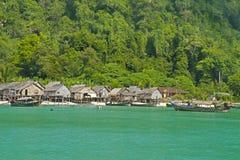 Zigenare Morgan Village, Surin öar nationalpark, Thailand Arkivbilder