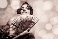 Zigensk flicka Kvinna för skönhetmodeAndalusian Flamencofestival Royaltyfri Bild