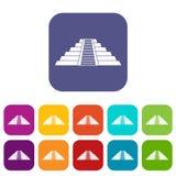 Ziggurat in Chichen Itza icons set flat Royalty Free Stock Images