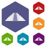 Ziggurat in Chichen Itza icons set hexagon Royalty Free Stock Image