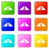 Ziggurat in Chichen Itza icons 9 set Stock Images