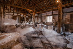 Zigong City, Sichuan Province, one thousand meters of ancient Salt - Son ruins sea wells reproduce ancient tradition of salt craft Stock Images
