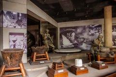 Zigong Salt Museum shows the process model of ancient salt technology field Stock Photo