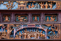 Zigong Salt Museum XiQin Hall stage skirts carved wood art historical stories and legends Royalty Free Stock Image