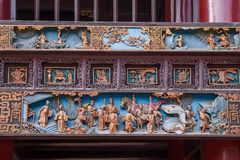 Zigong Salt Museum XiQin Hall stage skirts carved wood art historical stories and legends Royalty Free Stock Images