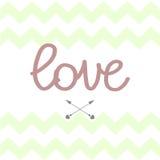 Zigzac green love sign arrows design card. Zigzac green love sign arrows design art card Royalty Free Stock Photos