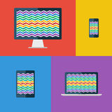 Zigzag background. Desktop monitor, laptop, tablet and smartphone. Flat colors. Stock Image