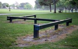Zigzag balance beam in the park. Park balance beam royalty free stock photo