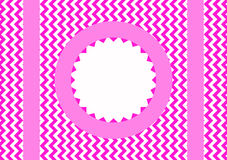 Zigzag border frame with circle. Pink zig zag border frame with message circle royalty free illustration