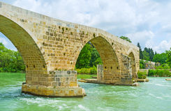 The zigzag bridge in Aspendos Royalty Free Stock Photos