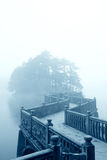 Zigzag bridge and fog stock photos