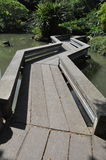 Zigzag bridge at Shatin Park in Hong Kong. The zigzag bridge at Shatin Park in Hong Kong. The bridge cross over a small pond. A metaphor of not a straight path royalty free stock image