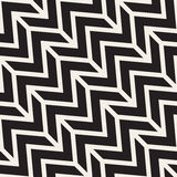 ZigZag Edgy Stripes. Vector Seamless Black and White Pattern. Royalty Free Stock Photos