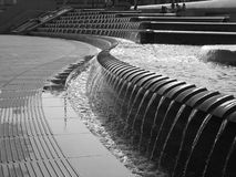 Zigzag fountain at Sheaf Square in Sheffield, UK. A fountain composition in front of the Sheffield rail-station Royalty Free Stock Photos