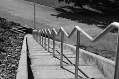 Zigzag handrails. Handrails with a different shape. Cherokee dam Tennessee. Lots of stair steps Stock Images