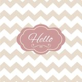 Zigzag hello sign o penwork frame card. Modern Stock Photography