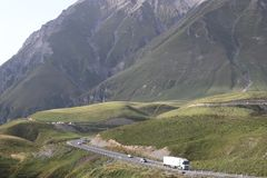 Zigzag highway in Caucasian mountains royalty free stock photos