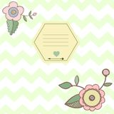 Zigzag ornament with  flowers and frame. Notepad Royalty Free Stock Photography