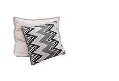 Zigzag pattern cushions on the outdoor seating Stock Images