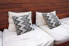 Zigzag pattern cushions on the outdoor seating Royalty Free Stock Photos