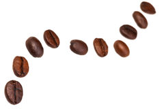 Zigzag pattern from many roasted coffee beans Royalty Free Stock Photo