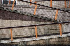 Zigzag ramps. For hillside handicap access royalty free stock image