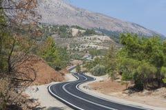 Zigzag. Road on Ataviros mountain slope in Rhodes island Royalty Free Stock Image