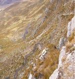 Zigzag road and broad glacial valleys, Royalty Free Stock Photos