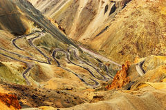 Zigzag road, Leh Srinagar Highway, Ladakh, Jammu and Kashmir, India Stock Photography