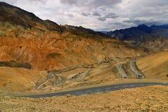 Zigzag road, Leh Srinagar Highway, Ladakh, Jammu and Kashmir, India Royalty Free Stock Image