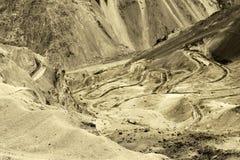 Zigzag road, Leh Srinagar Highway, Ladakh, Jammu and Kashmir, India Royalty Free Stock Photo
