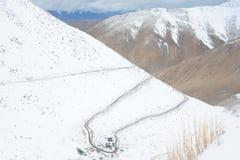Zigzag road to Chanla Pass and Pangong Lake Royalty Free Stock Image